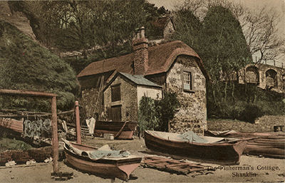 Shanklin Chine, Fishermans Cottage from the Beach
